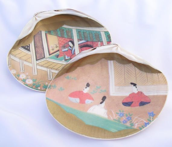 Japanese Tale of Genji  Clam Shells Kai awase 貝合わせ Shell