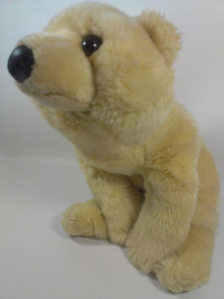 "EJ Classic Polar Bear Cream Bean Bag Stuffed Animal Plush Long Pile Laying 22"" #EJClassicEJ"