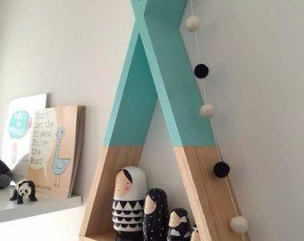 Teepee Shelf Shelves White Tribal Nursery Decor by AhAhOnline