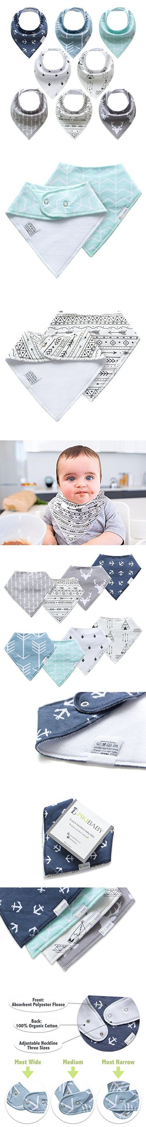 Bandana Baby Bib Set for Boys and Girls by Pikibaby, Unisex 8-Pack, 100% Organic Cotton, Cute Newborn and Cool Baby Shower Gift for Teething/Drooling, Soft, Absorbent and Hypoallergenic