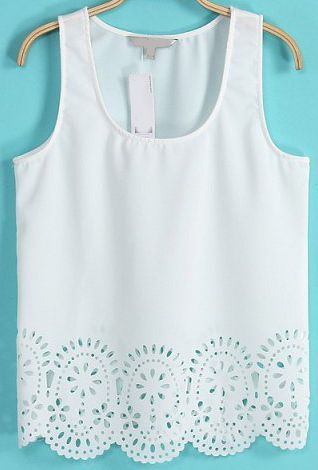 White Sleeveless Hollow Crop Vest // Sheinside.com.