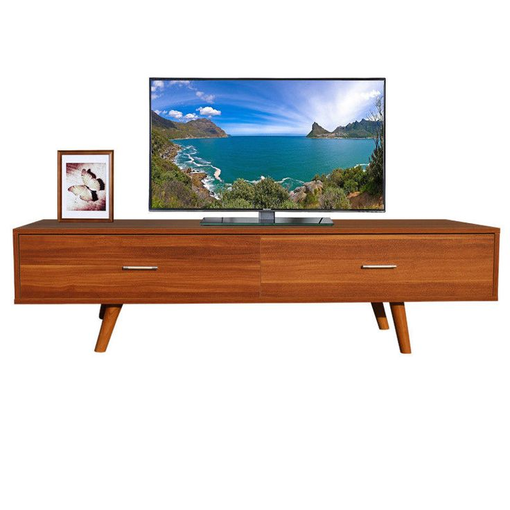 Vintage TV Stand 2 Drawers Cabinet Retro Furniture Wood Sideboard Rustic Storage