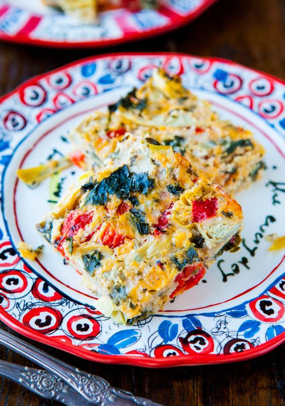 spinach, artichoke, and roasted red pepper cheesy squares