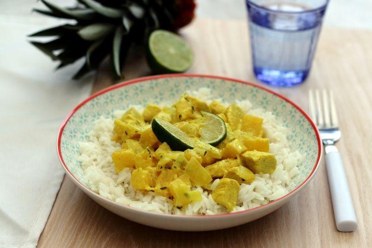Curry de poulet au lait de coco et ananas