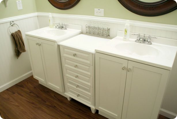 2 Cheap Sinks + Vanity Dresser in the middle. Perhaps for kids bathroom!