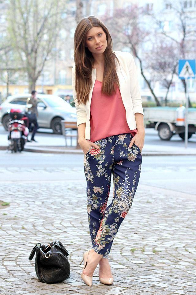 ZARA flower pants // Mango top // Hallhuber white peplum blazer // Miu Miu heels // Alexander Wang rocco bag