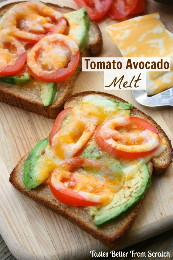 Tomato Avocado Melt ~ Tomatoes, avocados and cheese broiled on whole wheat bread with a SECRET INGREDIENT that makes them completely addicting!
