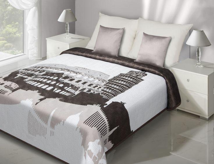 Dwustronna modna narzuta biała na łóżko ze starożytną budowlą
