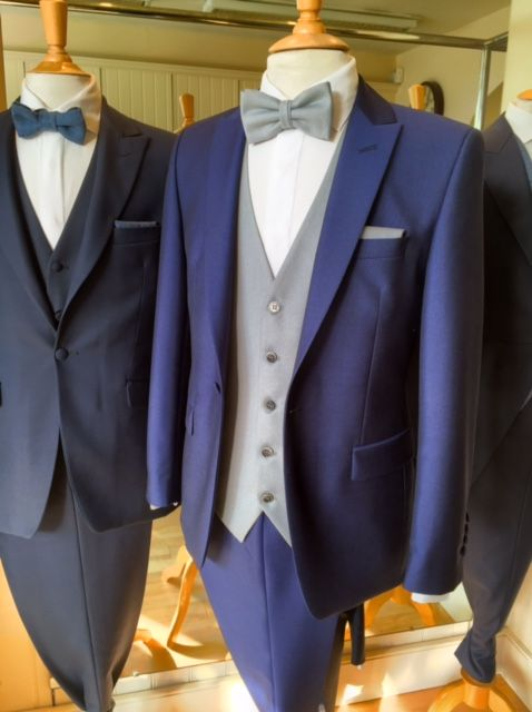 Royal Blue Wedding Suit -  with classic dove grey waistcoat, tie & pocket square