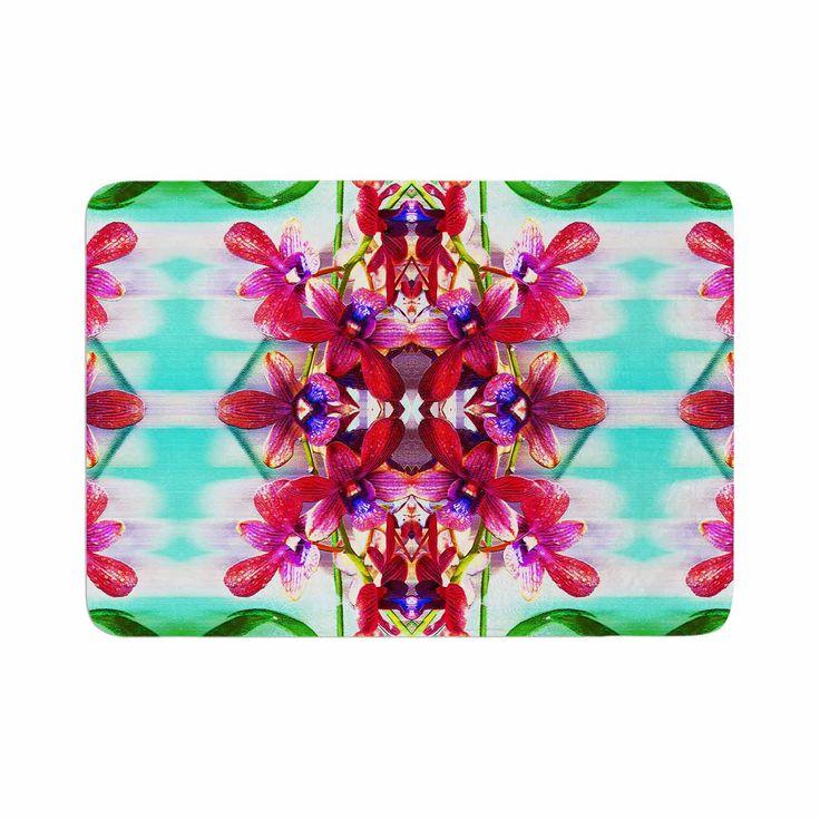 """Dawid Roc """"Tropical Floral Orchids 2"""" Pink Floral Memory Foam Bath Mat"""