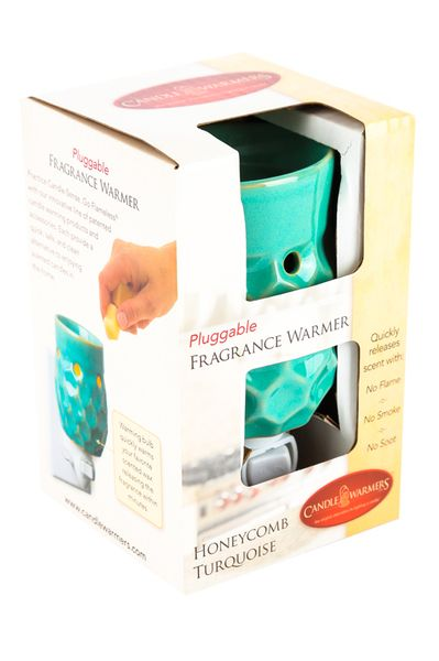 Candle Warmers, Honeycomb Plug-In Wax Warmer, Ceramic, Turquoise
