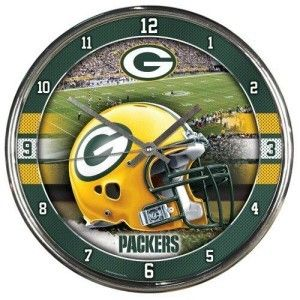 Green Bay Packers Round Chrome Wall Clock – ResellerHub.store
