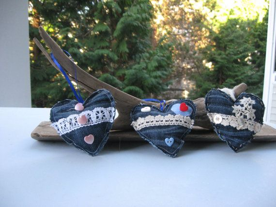 set of 3   heart ornamentsrecycled by Voweco on Etsy