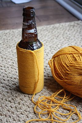 Yarn Wrapped Bottles. A little tricky at first but once you get the hang of it, it's really relaxing.