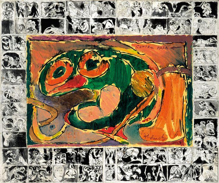 """Pierre Alechinsky - """"Central Park"""", 1965 - Acrylique sur papier marouflé sur toile - 162 x 193 cm."""