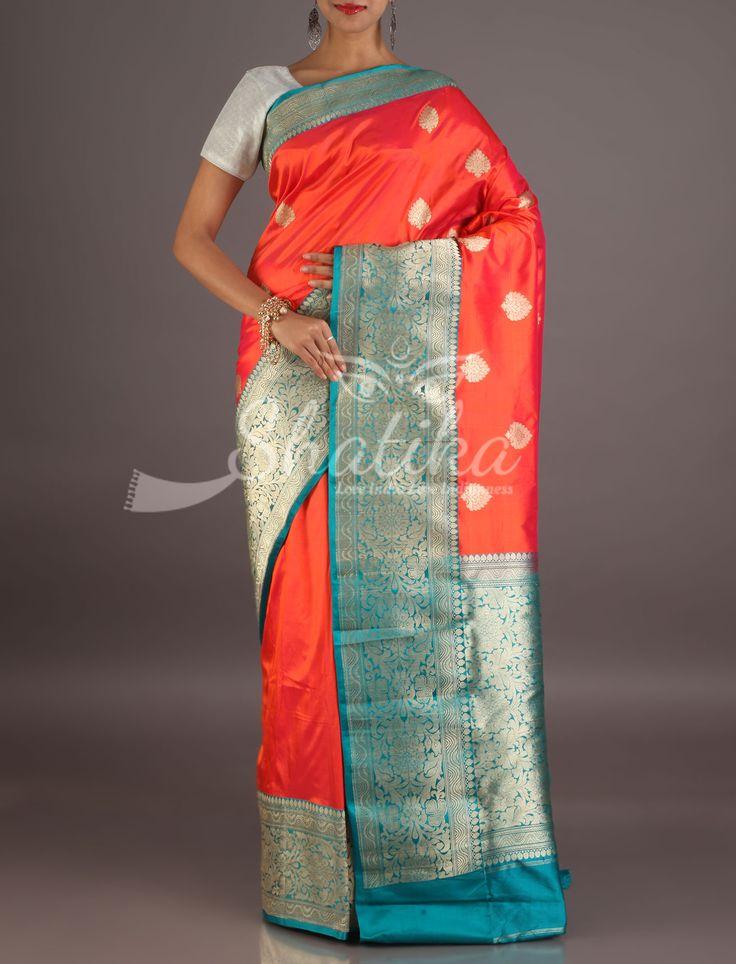 Reema Red And Blue Heavily Ornate Border Pallu Pure Banarasi Katan Silk Saree