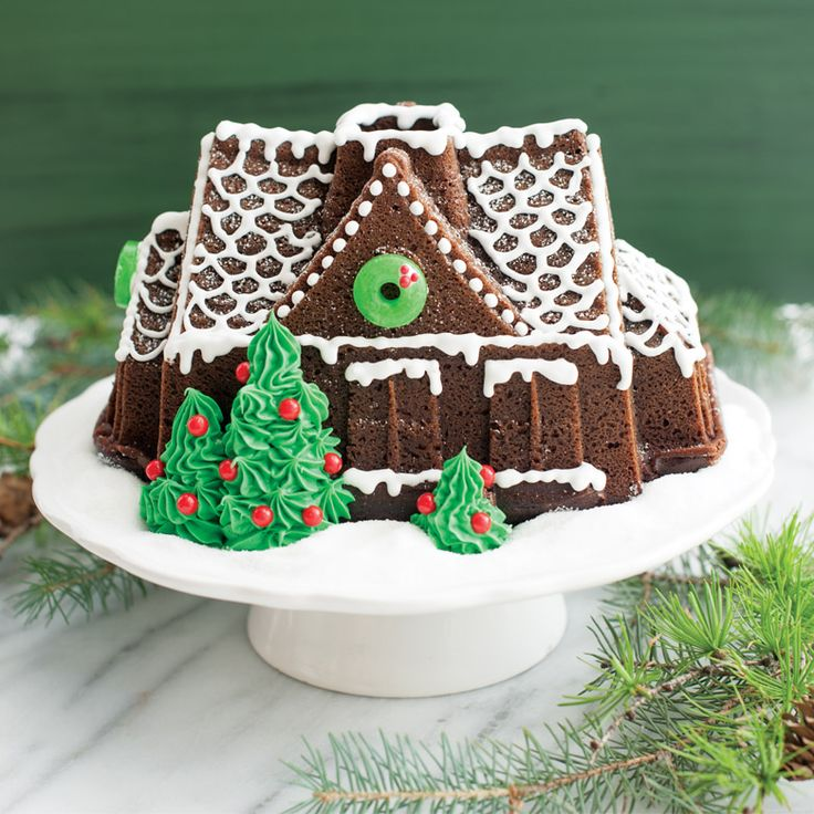 Classic Gingerbread Cake recipe with a rich flavor combination of ginger, cinnamon, and other spices is the perfect holiday dessert. Create your own gingerbread house cake using our Gingerbread House Bundt and add all your favorite candy decorations for a creative display!