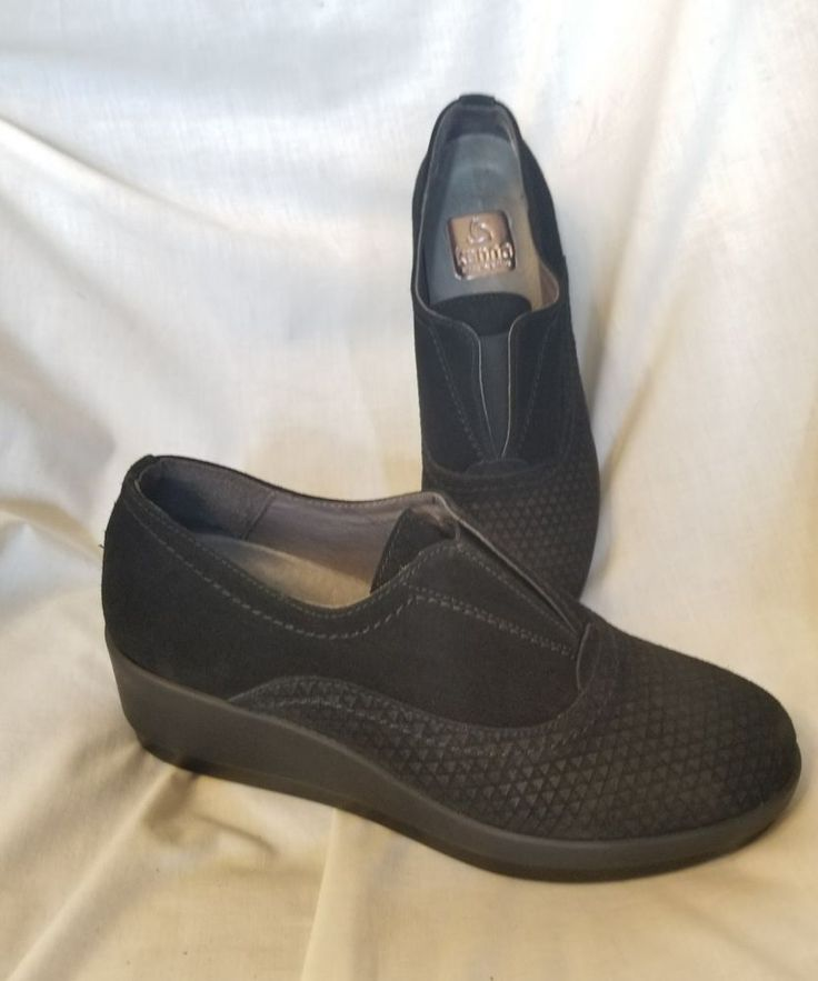 Kanna Spain sz 37 EUR 7 US black suede loafers casual stretch oxfords wedges  #Kanna #LoafersMoccasins