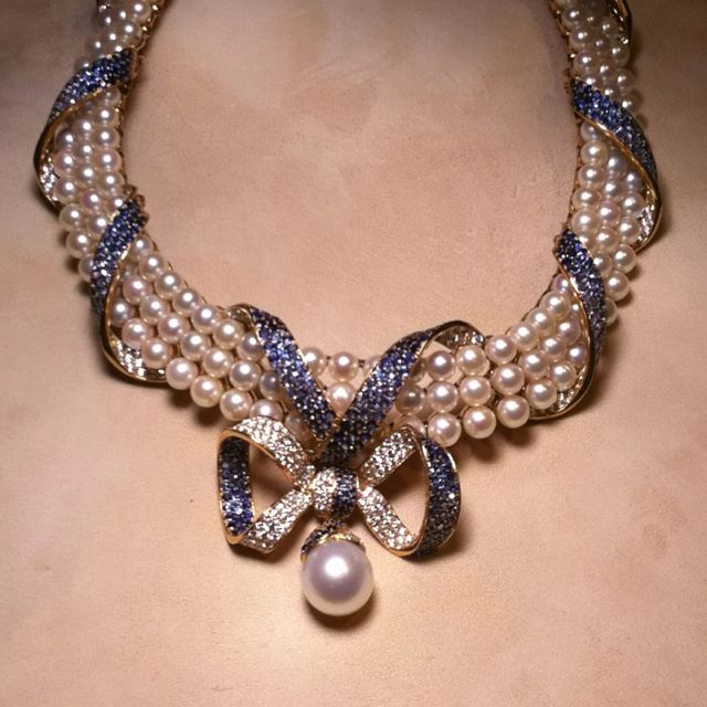CHANEL blue sapphire, pearl, and diamond necklace