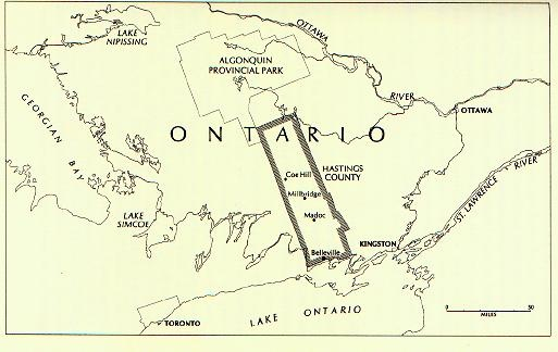 Map of Hastings County in Ontario
