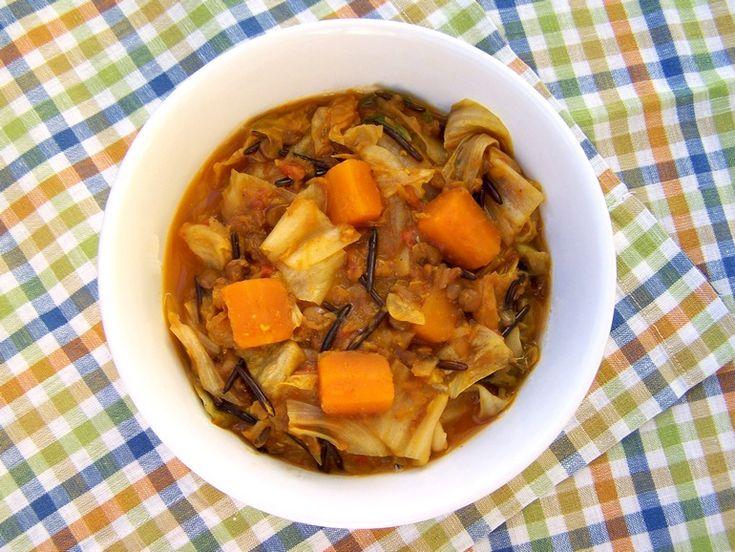 Linzencurry met bladgroente, vegetarisch, veganistisch