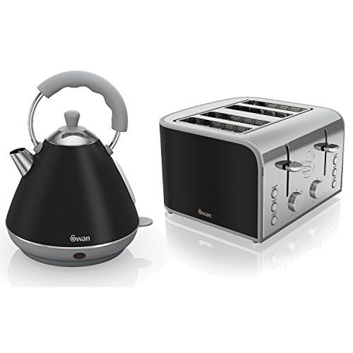 Swan Black Stainless Steel Electric 2L Pyramid Kettle And 4 Slice Toaster...