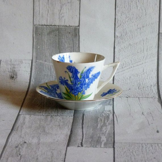 Vintage Art Deco Bluebell Bone China Tea Cup and Saucer