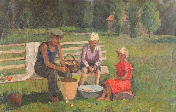 Константин Лекомцев. «Дети чистят грибы». 1930-е.