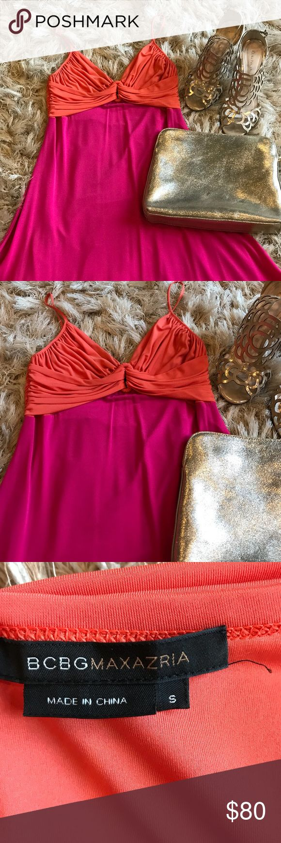 🎉SALE!! 🔥HOT🔥BCBG dress SALE!!🎉 Hot pink and orange BCBG dress. Super comfortable and travels well— jersey material. Adjustable spaghetti straps. Asymmetrical hem. Look great on vacation or a night out in this stunner!! Only worn once.  Like anything else in my closet?  💵 Bundle items to save more and save on shipping!! 📦 BCBG Dresses Asymmetrical