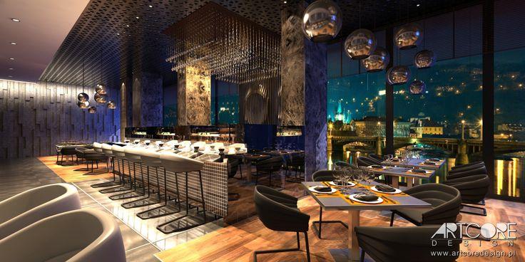 Projektowanie wnętrz restauracji.  Więcej na www.artcoredesign.pl .