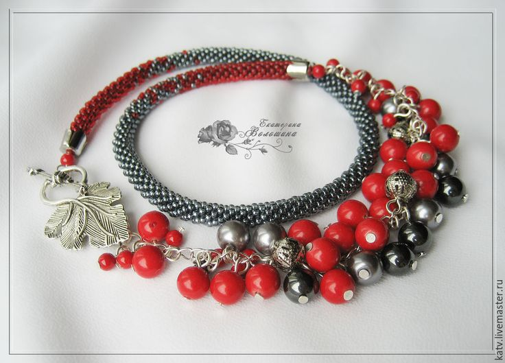 """Купить Ожерелье """"Рябиновое вино"""" - ярко-красный, серый, ожерелье, бусы, коралл, гематит, бисер"""