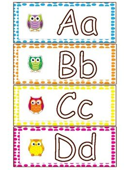 Colorful Owl Word Wall Letters