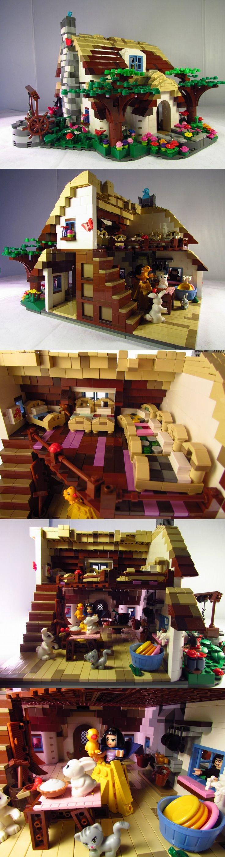 Dwarves Cottage #LEGO #Dwarves Nice use of the Lego Friends pieces.