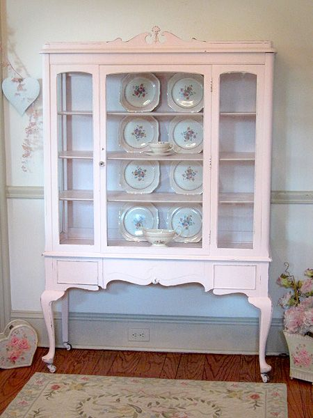 Pink Vintage China/Display Cabinet with Queen Anne Legs