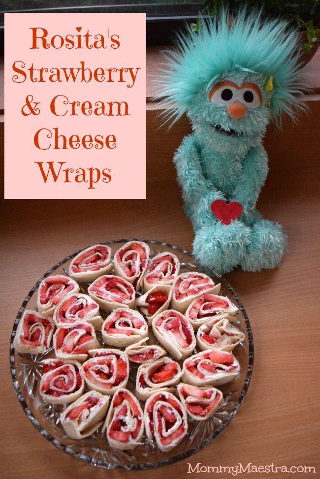 Sesame Street inspired Rosita's Strawberry Cream Cheese Tortilla Wraps! Fast and easy recipe with only 3 ingredients: tortillas, cream cheese and strawberries.
