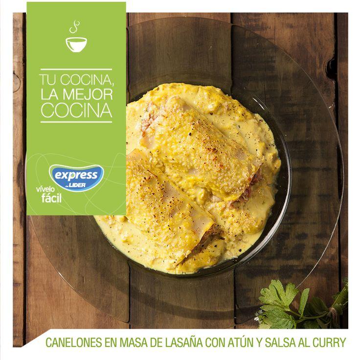 Canelones en masa de lasaña con atún y salsa al curry #Recetario #Receta #RecetarioExpress #Lider #Food #Foodporn