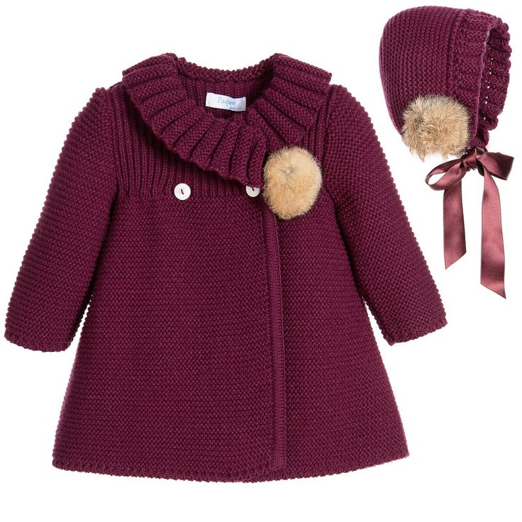 Foque Baby Girls Burgundy Knitted Coat & Bonnet at Childrensalon.com
