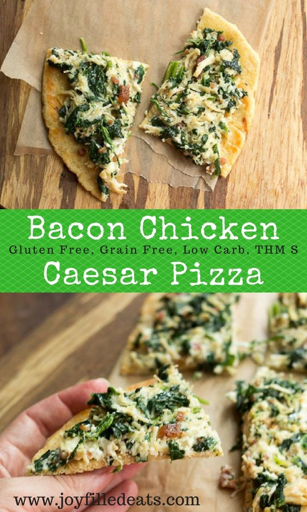 Bacon Chicken Caesar is one of our favorite flavor combos. I modified my popular casserole into a single serve pizza. It is low carb, grain free, and THM S. via @joyfilledeats