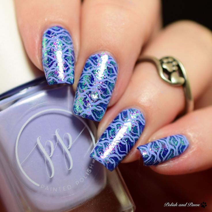 Beauty Big Bang Chameleon Flakes with Painted Polish Stamped in Taro