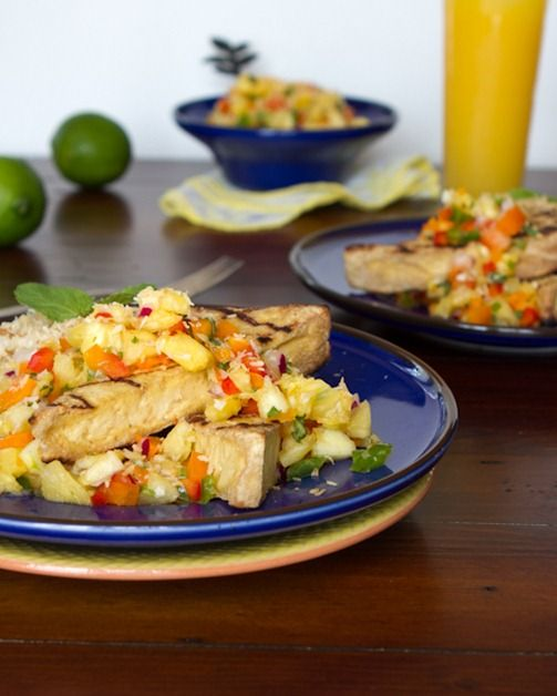 """Grilled Tofu with Pineapple Salsa and Coconut Rice. The perfect """"staycation"""" tropical summer entree. vegan and gluten-free!"""