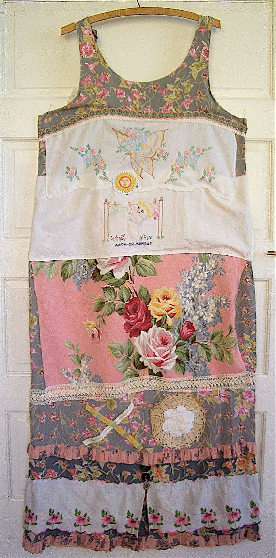 Lot of Vintage Antique LINENS Wearable Folk Art COLLAGE Fabric Textile Fiber Bark Cloth mybonny