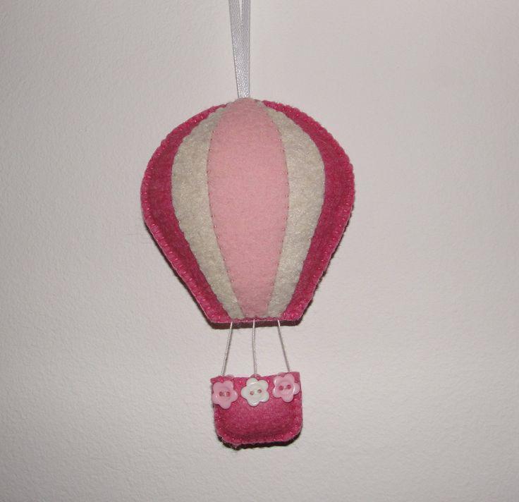 Wool Felt Balloon Hanging, Hot Air Balloon, Wall Decor, Blue and White Hot Air Balloon, Wall Hanging, Nursery Decor, Kids Room Decor, Gift by NitaFeltThings on Etsy