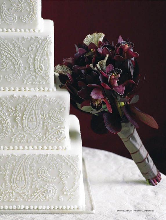 Beautiful White Embossed Paisley Patterned Wedding Cake