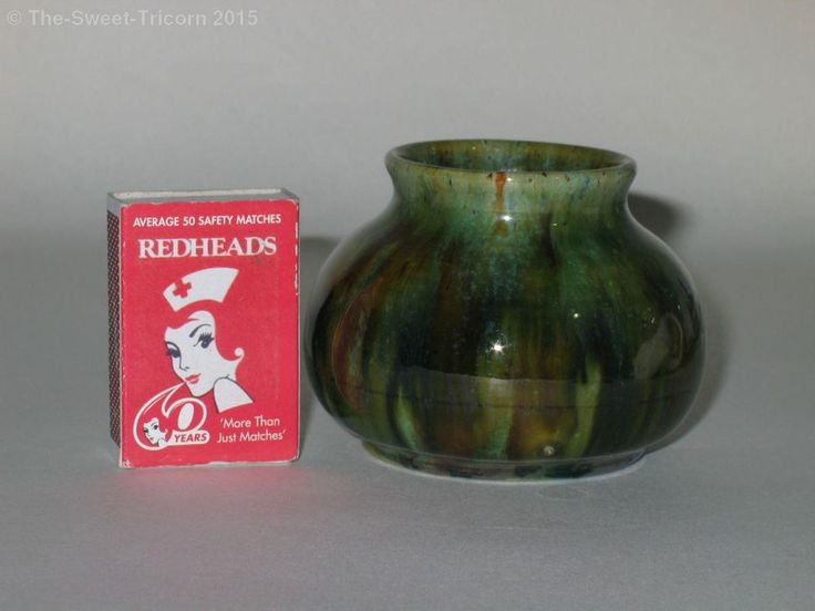 6cm x 8.5cm John Campbell Miniature Vase, Unusual Colours. Australian Pottery