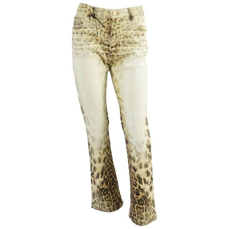 Roberto Cavalli Ivory and Animal Print Jeans