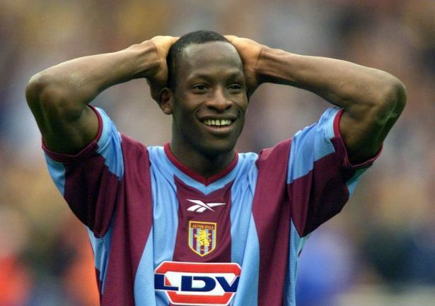 Ugo Ehiogu celebrates after Aston Villa's FA Cup Semi-final win on penalties against Bolton Wanderers