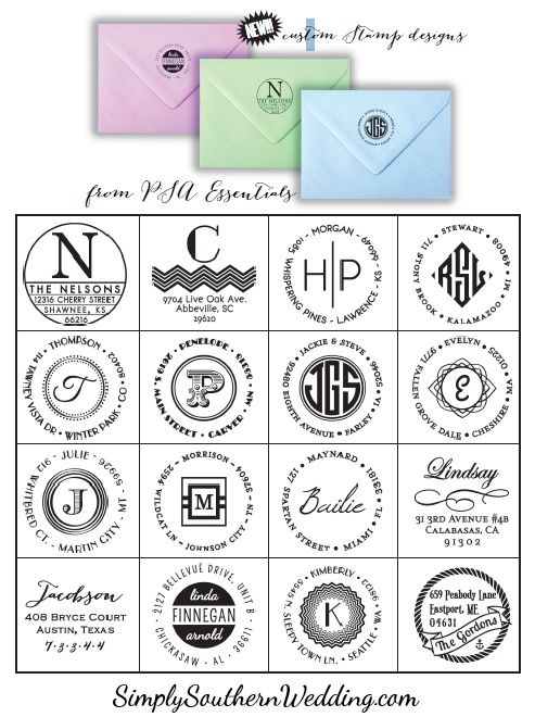 16 New Personalized Stamp Designs // Shop Simply Southern Wedding & Party Boutique