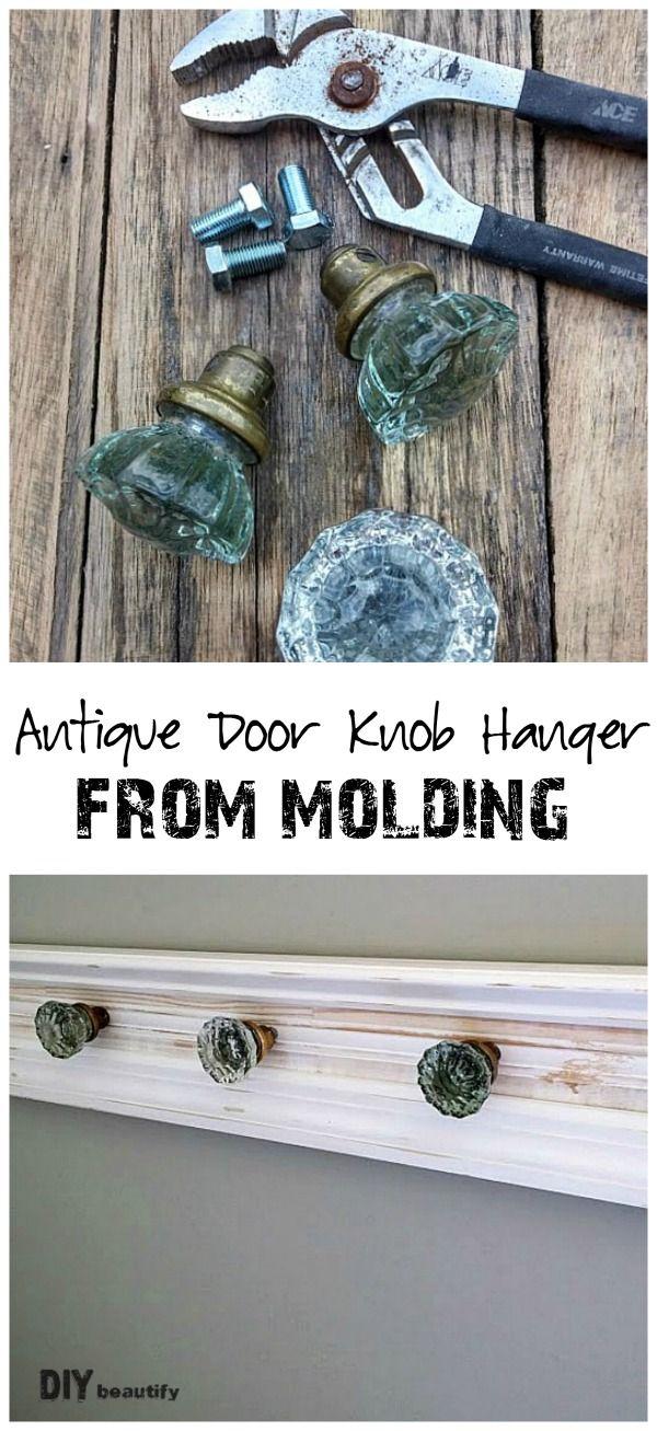 Antique door knob hanger from molding pieces | DIY beautify