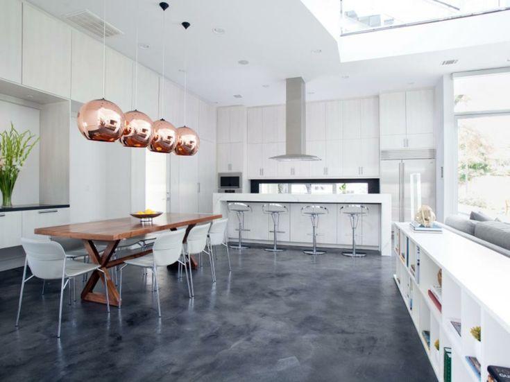 Simple betonboden modern k che wohnbereich