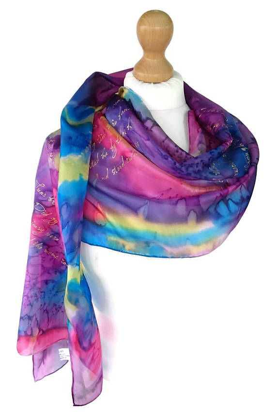 "~ measures approximately 18"" x 72 inch.""   - 100 % natural pure silk, ponge5.       A silk scarf will give a perfect finishing touch to any outfit, whether it is dressy or casual. It will make a wonderful unique gift.  My lovingly handmade painted scarves are not mass produced products. Each scarf is made one at a time and no two items are identical. That's the beauty of the handmade process. If the scarf has a slight imperfection, please remember to enjoy an artist's hand.    I'm using…"